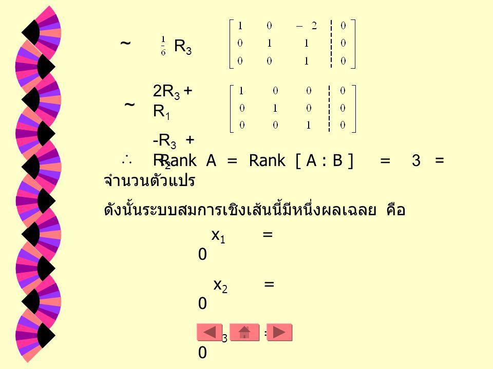 ~ ~ R3 2R3 + R1 -R3 + R2 Rank A = Rank [ A : B ] = 3 = จำนวนตัวแปร